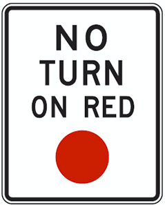 panneau no turn on red